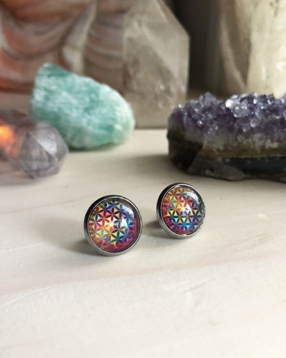 FLOWER OF LIFE stainless steel studs