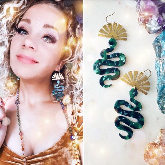 The Rebirth Goddess                    Snake green jade tortoise gold sun symbol chandelier earrings