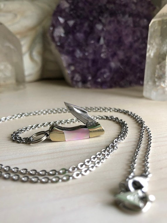 SURVIVOR mini working pocket knife necklace with shell inlay for him or her