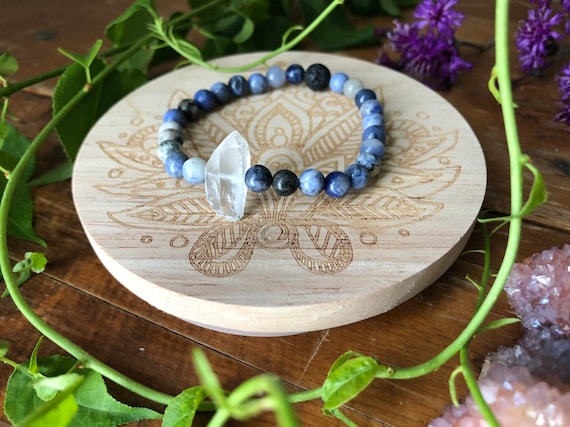 TRUE ENERGY gemstone crystal infused inspired stretch bracelet for sodalite and quartz