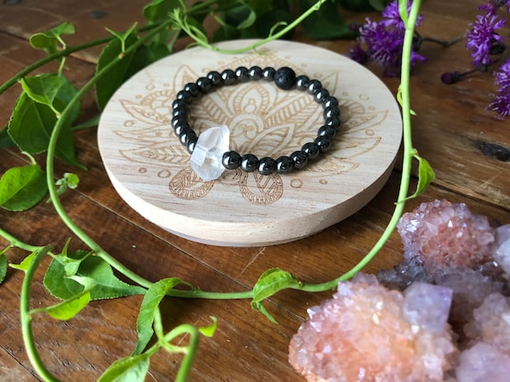 PROTECT ENERGY gemstone crystal infused inspired stretch bracelet for healing hematite and quartz diffuser jewelry