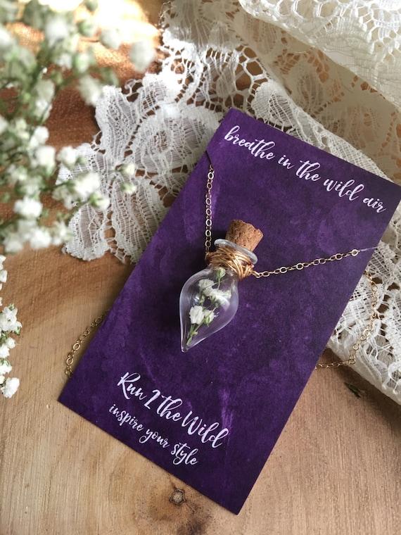 BREATHE a babies breath bottled teardrop necklace dried floral inspiration
