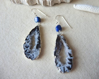 SALE, Agate Earrings, Agate Slice Geode Earrings, Lapis Lazuli Earrings, 92.5 Silver Earrings, Agate Druzy Earrings, Jewelry Gifts For Her