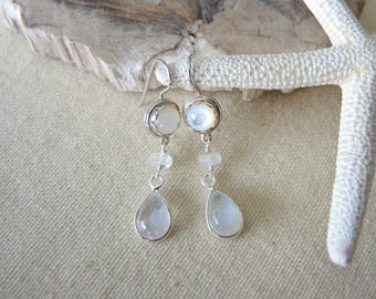 Moonstone Earrings, Mother Of Pearl Earrings, Sterling Silver Bezel Earrings, Moonstone Jewelry Gifts For Her, Mother Of Pearl Jewelry,