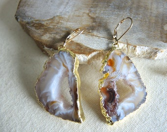 Agate Earrings, Agate Slice Geode Earrings, Agate Druzy Earrings, Triangle Agate Geode Earrings, Jewelry Gifts For Her, Gold Earrings