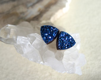 Druzy Studs, Agate Druzy Stud Earrings, Midnight Blue Druzy Earrings, Triangle Druzy Studs, Druzy Jewelry, Druzy Jewelry Gifts For Her