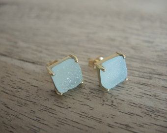 Natural Druzy Studs, Druzy Stud Earrings, Druzy Earrings, Mint Green Druzy, 18K Gold Vermeil Studs, Square Stud Earrings, Gifts For Her