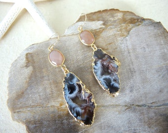 Agate Earrings, Agate Slice Geode Earrings, Agate Druzy Earrings, Peach Moonstone Earrings, Agate Jewelry Gifts For Her, Gold Bezel Earrings