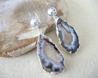 SALE, Agate Earrings, Agate Slice Geode Earrings, Fresh Water Pearl Earrings, Sterling Silver Earrings, Silver Bezel Earring, Gifts For Her