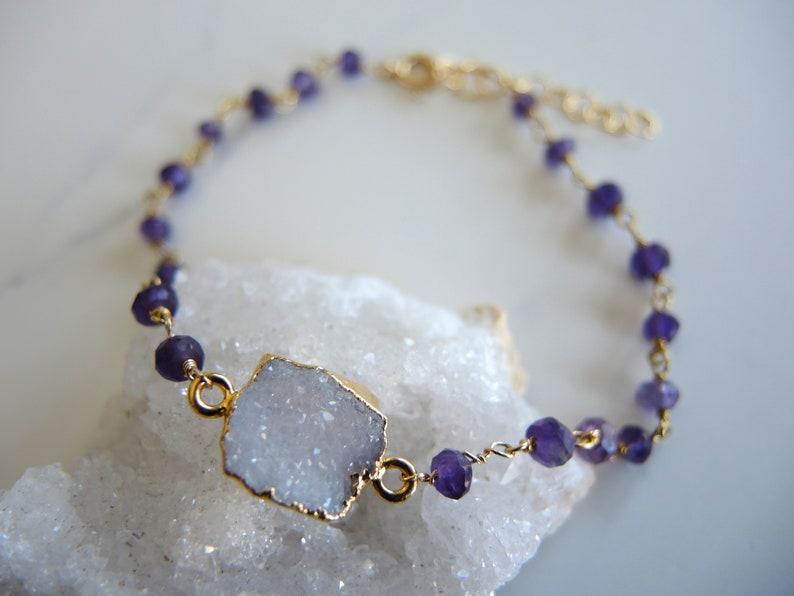 Druzy Jewelry Gifts For Her Gold Bracelet White Druzy Bracelet Amethyst Bracelet Dark Purple February Birthstone Amethyst Jewelry