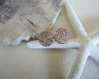 Rose Gold Druzy Studs, 10mm Rose Gold Studs, 18K Rose Gold Vermeil Bezel Studs, Druzy Earrings, Druzy Stone Stud Earrings, Gifts For Her