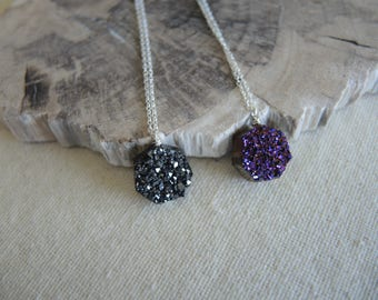 Druzy Necklace, Black Druzy Necklace, Plum Druzy Necklace, Heptagon Druzy Necklace, Druzy Stone Necklace, Jewelry Gift For Her, Silver Chain