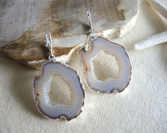Agate Earrings, Agate Slice Geode Earrings, Geode Earrings, Sterling Silver Leverback Earrings, Gem Stone Earrings, Jewelry Gifts For Her