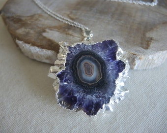 AAA Grade Amethyst Stalactite Necklace, Amethyst Pendant Necklace, Sterling Silver Chain Necklace, Amethyst Necklace, Jewelry Gifts For Her