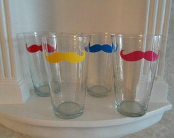 4 Mustache Glasses, You're Choice of 4 Colors, Father's Day Gift, Gift for Him, Mustache Glass, Mustache, Housewares, Glassware, Barware