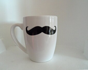 White Mustache Mug, Black Mustache,Housewares, Mugs, Mustache, Home and Living, Coffee Mug, coffee cup, Gift Ideas, Cups & Mugs, Fathers Day