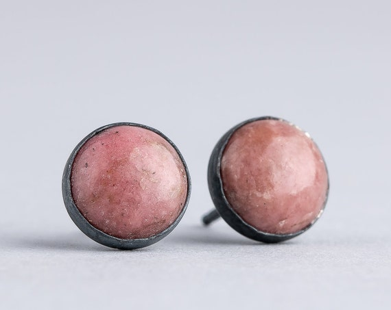 Pink Rhodonite Gemstone Stud Earrings in Oxidized Black Sterling Silver