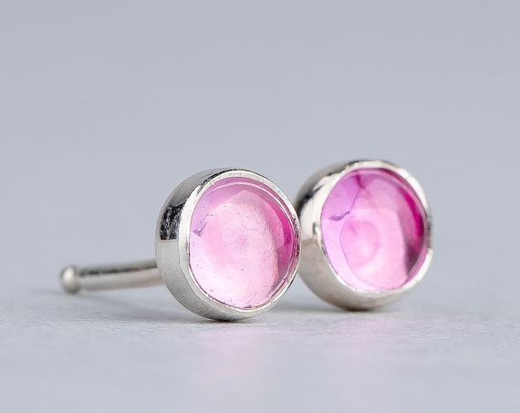 Light Pink Sapphire Gemstone Stud Earrings in Sterling Silver