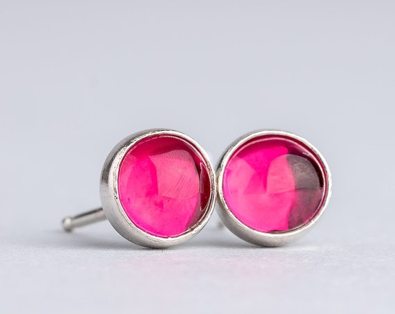 Pink Ruby Gemstone Stud Earrings in Sterling Silver // Bright hot pink red ruby stone gemstone post stud earrings choose 4mm, 6mm, or 8mm