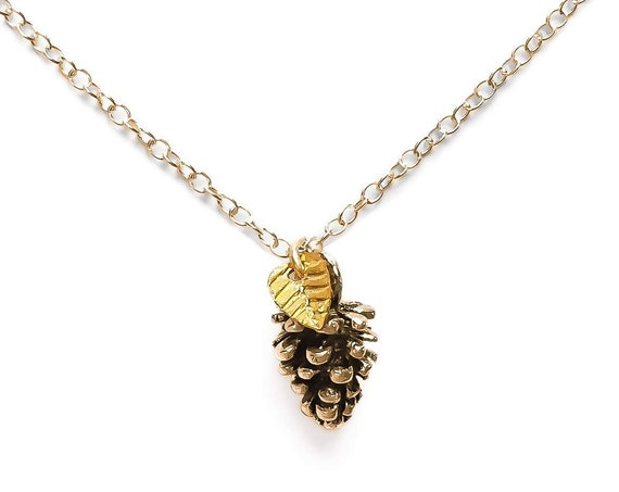 Tiny 14K Gold Fill or Sterling Silver Pinecone Necklace with Leaf // Cute small fall autumn winter Christmas Thanksgiving pinecone charm