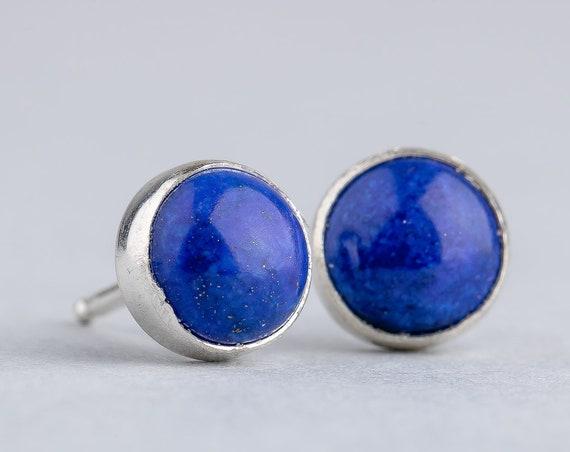 Blue Lapis Lazuli Gemstone Sterling Silver Stud Earrings // 4mm 6mm or 8mm round circle dark denim navy blue Lapis Lazuli post stud earrings