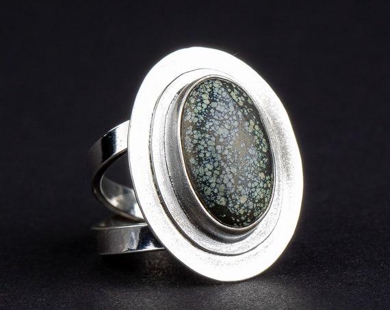 SIZE 7 Spiderweb Star Fox Variscite Gemstone Ring in Sterling Silver // Big aqua green turquoise oval bohemian boho southwestern ring