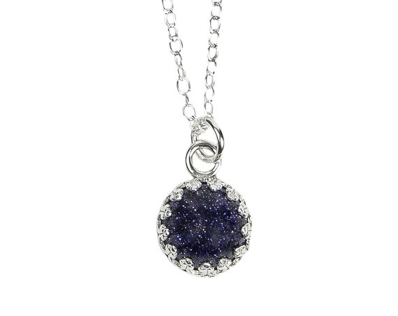 Constellation Necklace // Blue Goldstone Sterling Silver Necklace // Night sky galaxy outer space celestial starry zodiac stars glitter