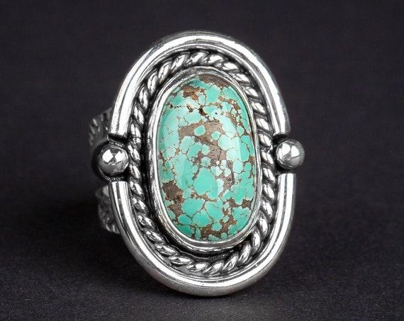 SIZE 7.5 Carico Lake Turquoise Gemstone Ring in Sterling Silver // Aqua seafoam blue boho bohemian southwestern Indian Navajo statement ring