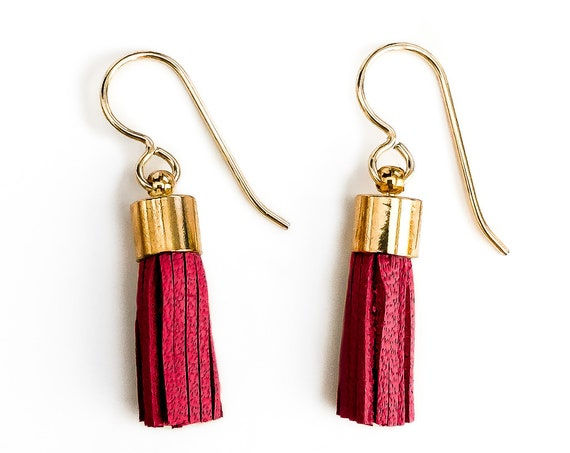 Tiny Red Synthetic Leather Tassel Earrings // Small little 14K Gold Fill deep dark blood red crimson fringe bohemian dangle drop earrings