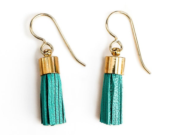 Tiny Aqua Blue Green Synthetic Leather Tassel Earrings // Small little 14K Gold Fill teal seafoam green fringe boho dangle drop earrings