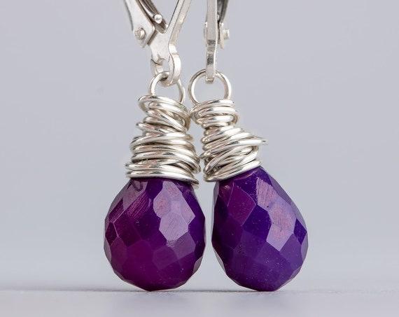 Purple Chalcedony Gemstone Earrings Wire Wrapped in Solid Sterling Silver