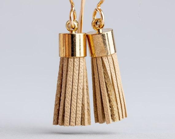 Tan Leather Tassel Earrings - Brown Synthetic Leather Tassel Earrings in 14K Gold Fill - Long Gold and Beige Earrings - Tassel Earrings