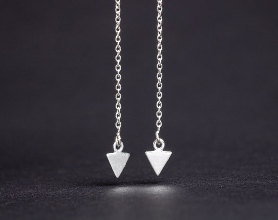 Arrow Threader Earrings // Sterling Silver triangle arrow ear thread threader earrings, long chain earrings, front back arrow point earrings
