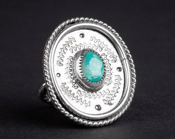 SIZE 5.5 Aqua Blue Tibetan Turquoise Gemstone Ring in Sterling Silver with Stamped Border // Big bohemian boho southwestern statement ring