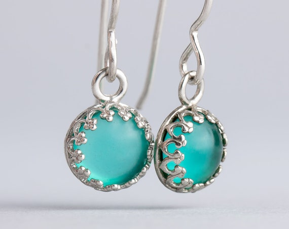 Aqua Teal Blue Dangle Drop Earrings in Sterling Silver with Glass Stones - Princess Crown Earrings - Gift for Her