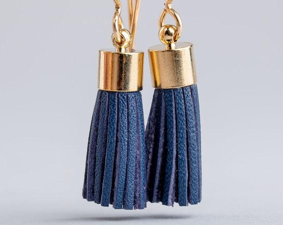 Blue Leather Tassel Earrings - Dark Blue Synthetic Leather Tassel Earrings in 14K Gold Fill - Long Gold and Blue Earrings - Tassel Earrings