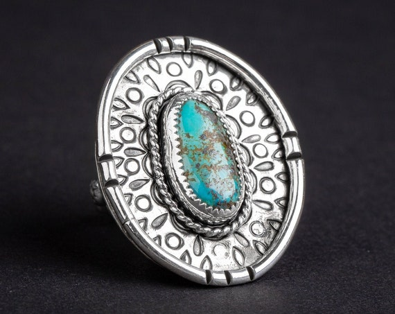 SIZE 8 Kingman Turquoise Gemstone Ring in Sterling Silver with Hand Stamped Border // Huge big aqua blue bohemian boho nature cocktail ring