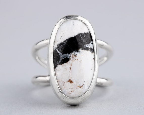 SIZE 6.5 - White Buffalo Turquoise Gemstone Ring in Sterling Silver - Black and White Ring - Bohemian Navajo Indian Southwestern Jewelry