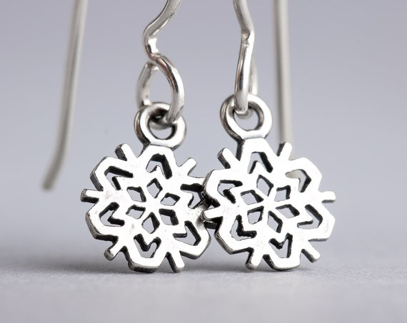 Snowflake Earrings - Snow Dangle Drop Earrings in Sterling Silver - Christmas Jewelry, Holiday Earrings, Winter Earrings - Present Gift