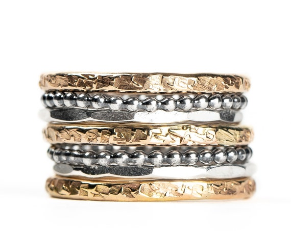 Mixed Metal Stacking Ring Set of 7 // Yellow gold and sterling silver hammered textured mixed metal stackable rings stack skinny ring bands