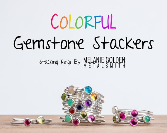 Choose Your Own Custom Gemstone Stacking Rings // Colorful gemstone choose customize personalize stack rings stacking rings stackable rings