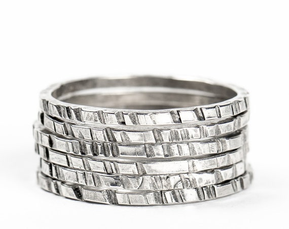 Sterling Silver Rugged Stacking Rings // Sterling Silver lined striped rugged hammered stacking rings stackable stack skinny thin ring bands