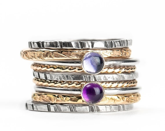Mixed Metal Colorful Stacking Gemstone Rings Set of 9 // Purple Amethyst pastel purple Iolite silver & gold stack stacking stackable rings