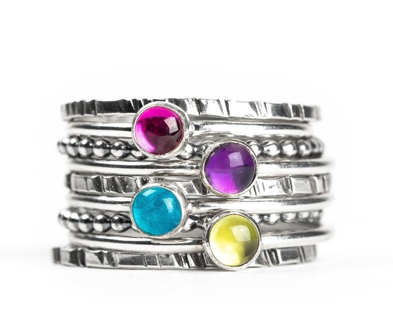 Colorful Stacking Gemstone Rings Set of 9 // Purple Amethyst pink Ruby blue Apatite green Peridot sterling silver stack stackable rings