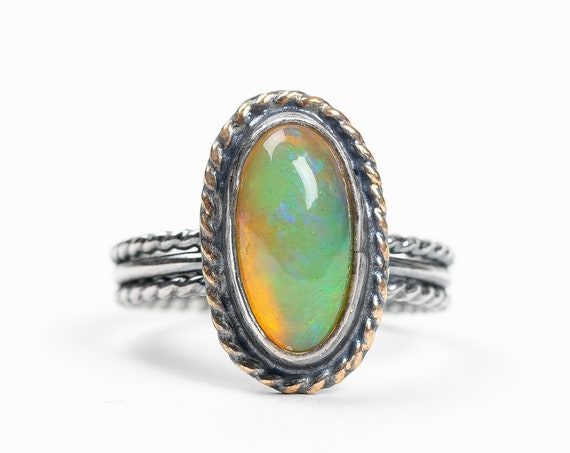 SIZE 7 Ethiopian Opal Ring in Oxidized Sterling Silver and 14K Gold Fill // Rainbow colorful color changing iridescent opal gemstone ring