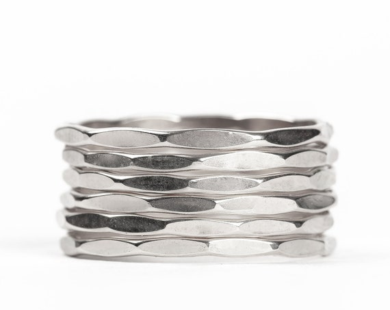 Sterling Silver Mirror Hammered Stacking Rings // Sterling Silver mirror hammered pounded stacking stackable ring stack skinny thin bands
