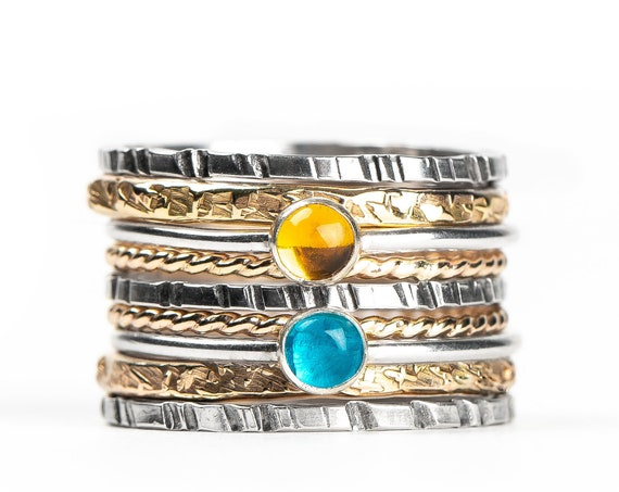 Mixed Metal Colorful Stacking Gemstone Rings Set of 9 // Teal blue Apatite yellow orange Citrine silver gold stack stacking stackable rings