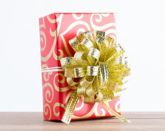 Gift Wrapping Service Add On // Red and Gold Scrolled Hearts Gift Wrapping