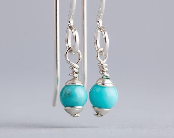 Tiny Mexican Turquoise Drop Earrings - Simple Aqua Blue Bohemian Earrings - Tiny Sterling Silver Boho Dangle Earrings - Indian Navajo