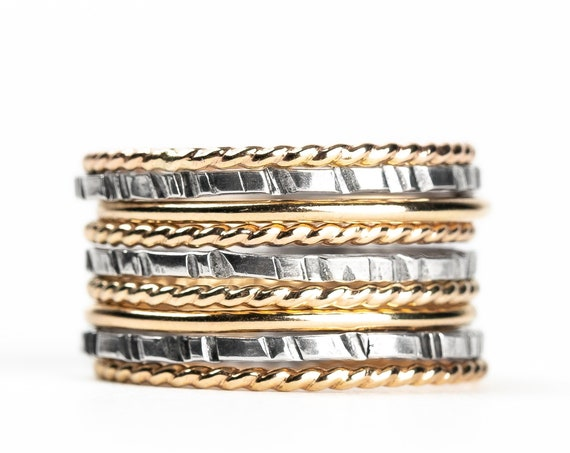 Mixed Metal Stacking Ring Set of 9 // Yellow gold and sterling silver hammered texture mixed stackable rings stack skinny ring bands